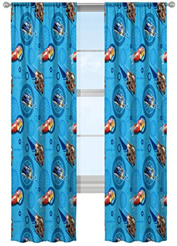 "Jay Franco Disney/Pixar Cars City Limits 84"" Inch Drapes 4 Piece Set - Beautiful Room Décor & Easy Set Up - Window Curtains Include 2 Panels & 2 Tiebacks (Official Disney/Pixar Product)"