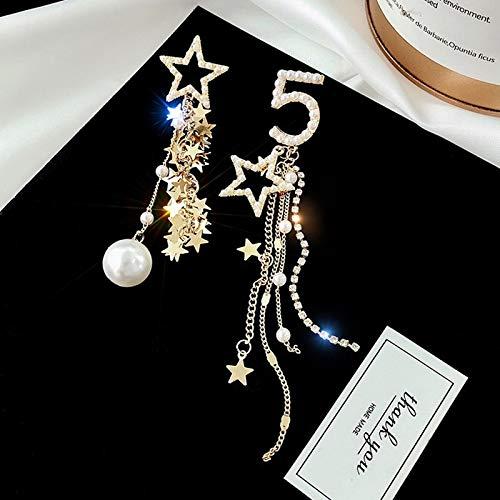 ZSCZQ Fashion Creative Number 5 Pentagram Pendant Earring For Woman Accessories Pearl Star Tassel Earrings