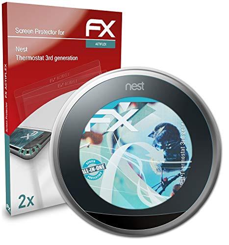 atFoliX Beschermfolie compatibel met Nest Thermostat 3rd generation Folie, ultra duidelijk en flexibel FX Schermbeschermer (2X)