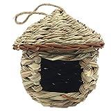 gaoominy grass bird hut, accogliente luogo di sosta per uccelli, offre riparo dal freddo, nido di case di uccelli intrecciato un mano perfetto per fringuello e canarino