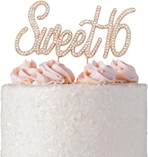 Sweet 16 Cake Topper | Rose Gold Sweet Sixteen Rhinestone Cake Topper | 16th Birthday Party Decorations | Premium Sparkly Bling Crystal Diamond Rhinestone Gems | Quality Metal Alloy | (Sweet 16 Rose)