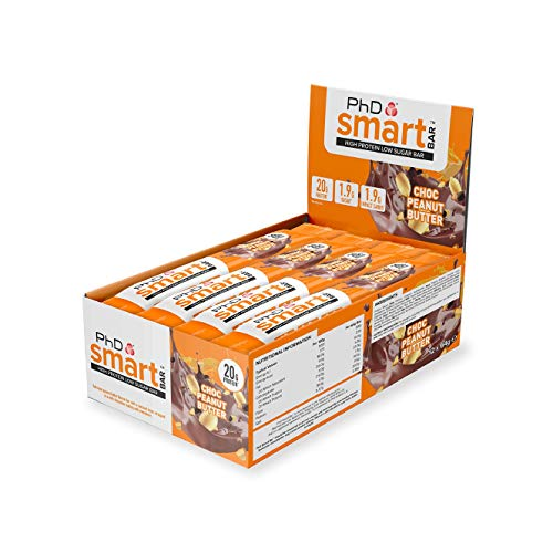 PhD Smart Bars, Pack de Barritas Altas en Proteínas Bajas en Carbohidratos con Delicioso Sabor Chocolate y Crema de Cacahuete (Caja de 12 x 64g)