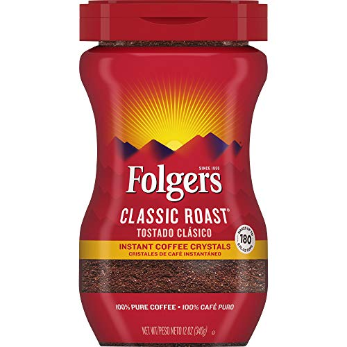 Folgers Classic Roast Instant Coffee Crystals, 12 Ounces (Pack of 6)