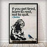 Impresión De La Lona Del Arte De Banksy,Graffiti Street Art Girl Bird Banksy Poster Abstracto Pintura En Tela, Carteles Y Arte De Pared Imprime Imágenes De Aceite Para El Salón Decoracion,60X90Cm S