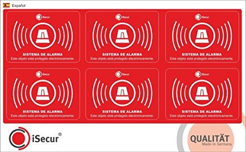 6 stuks stickers alarm, iSecur®, alarmbeveiligd, 5 x 3,5 cm, art. hin_237, waarschuwing voor alarmsysteem, voor huisdeur, toegangsdeur, ramen, deur, auto, vrachtwagen, bouwmachines (Español)