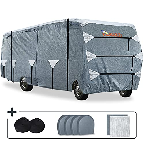KING BIRD Upgraded Class C RV Cover, Extra-Thick 5 Layers Anti-UV Top Panel, Durable Camper Cover, Fits 26'- 29'Motorhome -Breathable, Water-Proof, Rip-Stop with 2Pcs Extra Straps & 4 Tire Covers