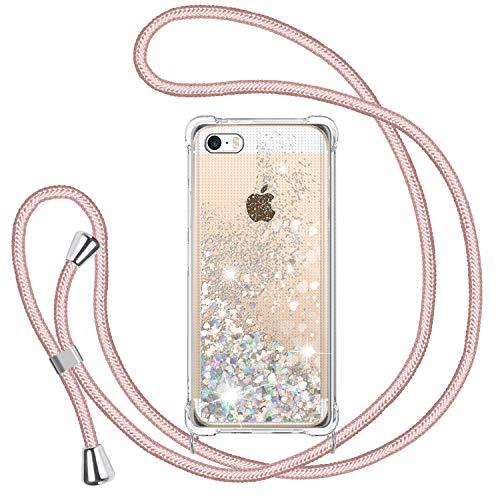 TUUT Funda Glitter Liquida con Cuerda para iPhone 5/5s/SE 2016, Glitter Cristal...