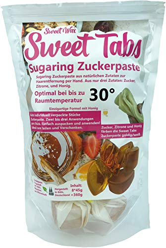 Sweet Tabs 30° Gold Brazilian Wax. Einfach auspacken, kneten und anwenden. Enthaarungswachs aus Sugaring Zuckerpaste zur Haarentfernung per Hand. Keine Vliesstreifen oder Erwärmen nötig. 8 * 45g =360g