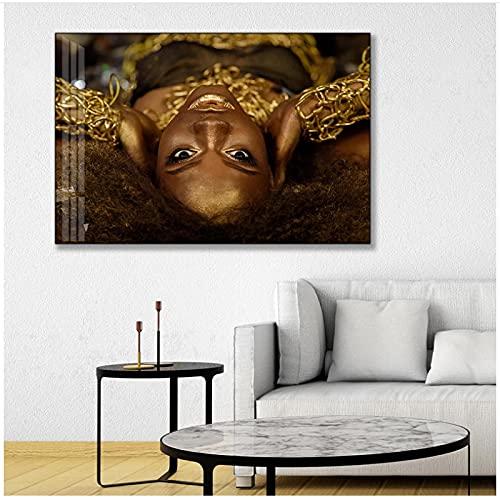 QIAOB Impresiones en Lienzo, Impresión en HD Arte Africano de Gafas de Sol a la Moda Carteles de Pared de Mujeres Negras y Doradas y Cuadros de Arte de Pared en Lienzo Sin Marco