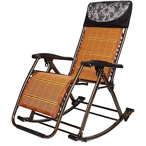 FC-Bed Silla de césped de Rattan Sillas mecedoras Patio Lounge Recliners para Adultos - Tumbona al Aire Libre Silla reclinable Plegable para Playa Jardín Camping