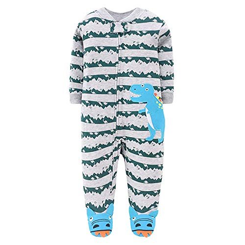 JinBei Pelele Bebe Niño Mameluco Footies Algodon Pijama Recien Nacido Mamelucos Manga Larga Mono Caricatura Trajes Envuelva el pie Cremallera Pijamas, Patrón de Azul Dinosaurio 0-3 Meses