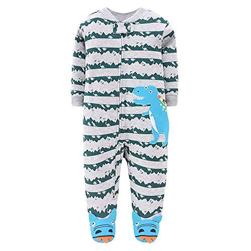 JinBei Neonato Pigiama Bambino Pagliaccetto Blu Dinosauro Pagliaccetti Sleepsuits Cotone Manica Lunga con Piedini Tutine Outfits Body Carino Tuta Bimba Bimbo 6-9 Mesi
