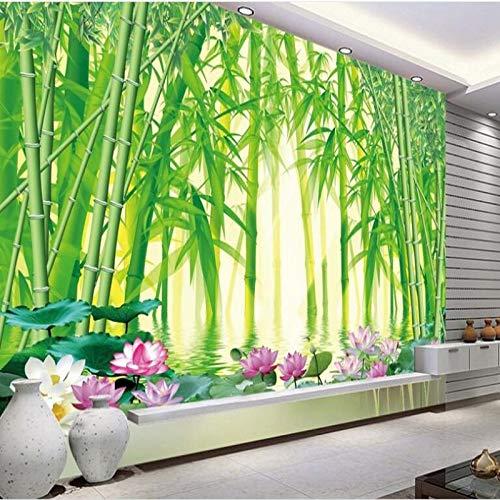 WOONN - Papel pintado con un gran fresco en los ojos que beneficia al fondo de bambú verde, 420CM*260CM