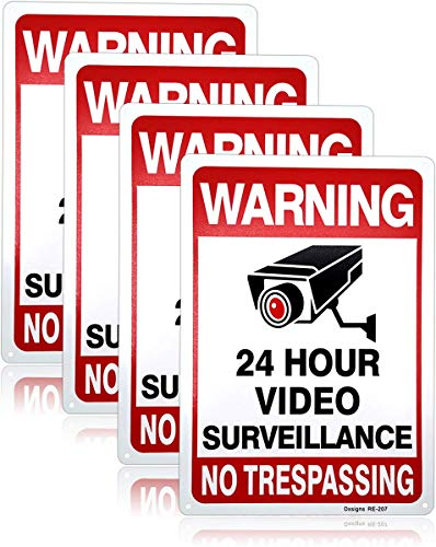 """Dxsigns No Trespassing Video Surveillance Sign Property Protected by Video Surveillance Warning Security Camera Sign,10""""x14"""" Rust Free Aluminum,UV Ink Printing,Indoor or Outdoor Use(4-Pack)"""