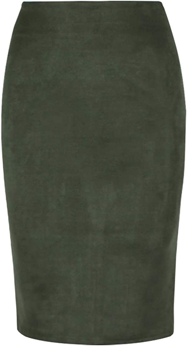 CHARTOU Womens Lightweight Elastic-Waist Faux Suede Leather Side Split Hip Packaged Skirt
