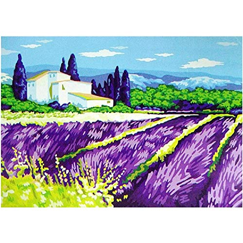 Malen Nach Zahlen DIY Lavendel Manor Lila Landschaft Leinwand Hochzeitsdekoration Kunst Bild Geschenk 40 * 50CM Kein Bilderrahmen