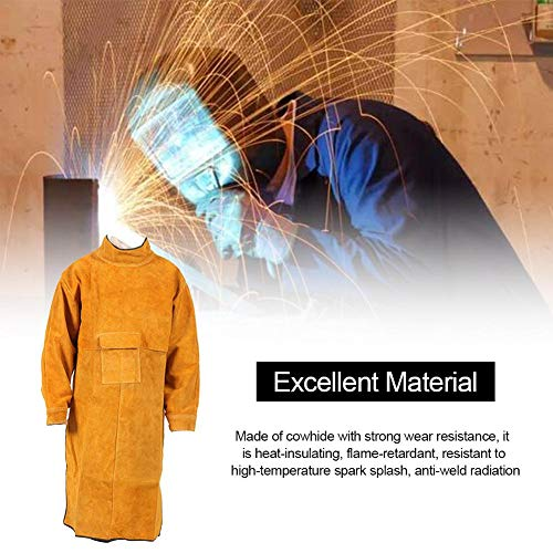 Lassen schort dubbelzijdig rundleer stuk werkkleding heren jas met mouwen draagbaar isolatie slijtvaste Spark-proof lasser schort 10554cm