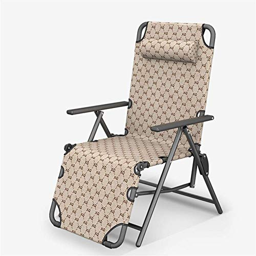 Rocker Recliner Sun Lounger 10 Positions Adjustable Brown Chair Outdoor Garden Furniture Folding Bed For Beach Pool Patio Camping Feet Steel Round Tube c2010 (Size : Without cushion)
