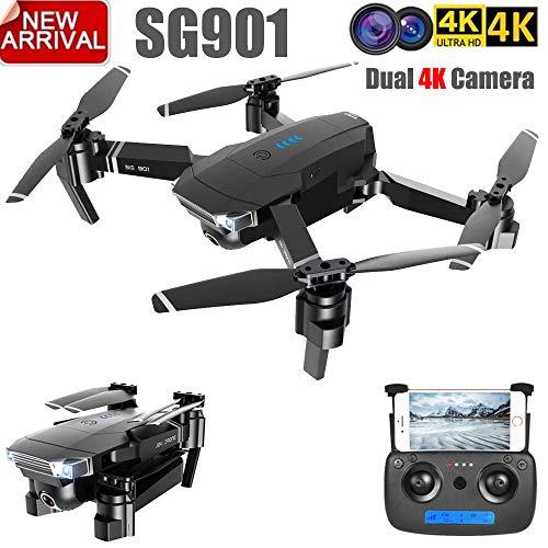 Meiyiu ZLL 2019 Nuevo SG901 Drone de cámara 4K HD Drones de cámara Dual Sígueme Quadcopter FPV Profesional GPS Profesional Batería de Larga duración 1080P 1 batería
