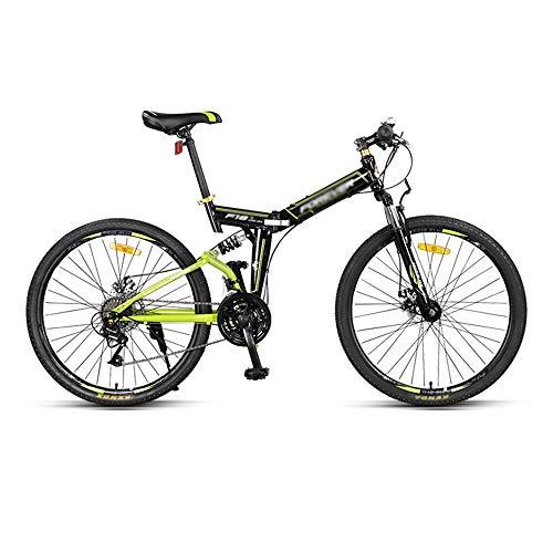 Bicicleta, Bicicleta de Montaña, Bicicleta de Doble Choque de 24 Velocidades Y 26 Pulgadas, Con Marco Plegable de Acero con Alto Contenido de Carbono, Freno de Disco Doble, Para Adultos/A