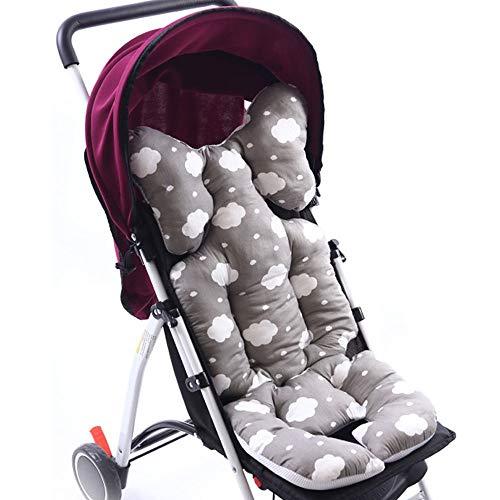 Souarts Universal Kinderwagen Sitzauflage Baumwolle wasserdichte atmungsaktiv Sitzeinlage für Baby Kinderwagen Buggy 35x78 cm (Hellgrau)