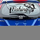 pegatina de pared frases Trucha pescado salmón calcomanía del coche ir carteles de pesca calcomanías de barcos decoración mural ganchos de pesca tienda para coche portátil etiqueta de la ventana