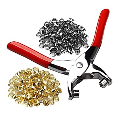 """Pengxiaomei 1/4"""" Grommet Eyelet Setting Plier with 100 PCS Silver and 100 PCS Gold Eyelets Grommets, Eyelets Punch Holes Hand Pliers Tool for Making Holes in Leather/Clothes/Shoes/Fabric/Belts etc."""