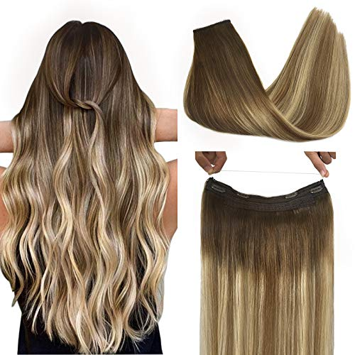 GOO GOO Halo Extensions Remy Human Hair Extensions Ombre Walnut Brown to Ash Brown and Bleach Blonde 80g 16 Inch Invisible Wire Flip Hair Extensions Couture Hairpiece with Secrect Fish Line