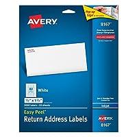 Avery イージーピールリターンアドレスラベル インクジェットプリンター用 0.5 x 1.75インチ ホワイト 8000枚パック 08167