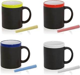 FUN FAN LINE - Ensemble de Tasses en céramique avec extérieur en Ardoise pour Dessiner. Idéal pour Le café, Le thé ou Les ...