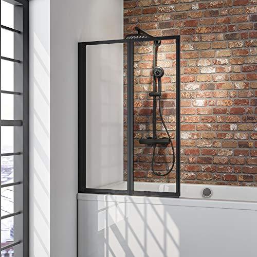 Schulte Duschwand Smart inkl, Klebe-Montage, 87 x 121 cm, 2-teilig faltbar, 3 mm Sicherheitsglas (ESG) Klar hell, Schwarz, Duschabtrennung für Wanne, Montage ohne Bohren in die Fliese