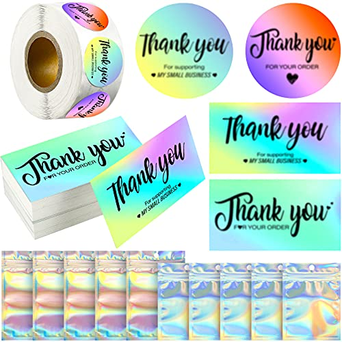 1120 Pieces Thank You for Supporting My Small Business Card Set, Include Thank You for Your Order Card with Thank You Label Sticker and Holographic Resealable Bag for Boutiques Online Retail Store