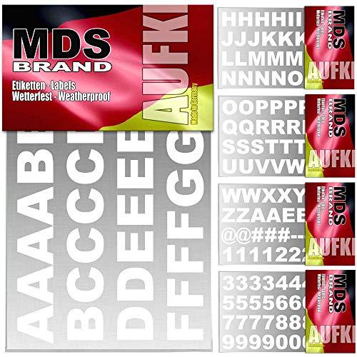 MDS Brand 2cm A-Z + 0-9 Buchstaben & Zahlen - No.1 - Wetterfest Premium Klebebuchstaben True (Weiss, 2cm)