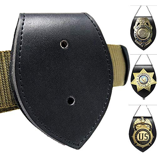 Jolitac Leather Badge Shield Holder Heavy Duty Steel Belt Clip, Handmade Thick Leather Cow Black Badge Holder Case with Metal Clip & Chain Neck Chain