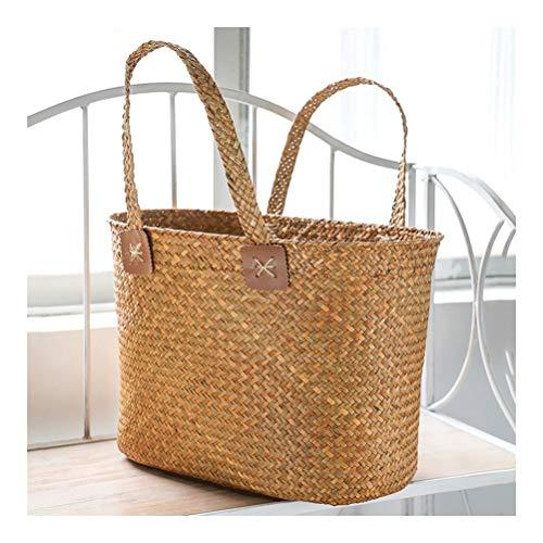 Cesta de picnic tejida a mano, materiales naturales, estilo rústico, cesta de aperitivos, cesta de frutas, azul vegetal, un imprescindible en casa.