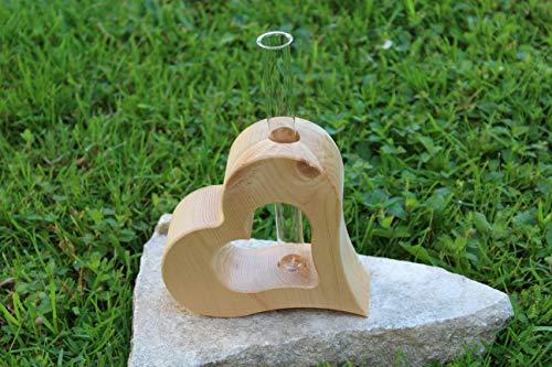 Herzvase aus 100% Alpen Zirbenholz | mit Reagenzglas | 17x4,5cm