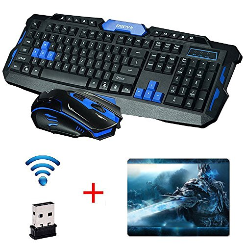 UrChoiceLtd 2017 Cityform HK8100 Inalámbrico Multimedia Gaming Teclado + 2,4 GHZ 4 Botones Ratón De Golf, Color Negro Y Azul