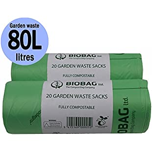 Customer reviews 80 Litre x 40 bags Compostable Garden Waste Sacks - Biobag Liners - EN 13432 - Biobags 80L Bin Bags with Composting Guide:Eventmanager