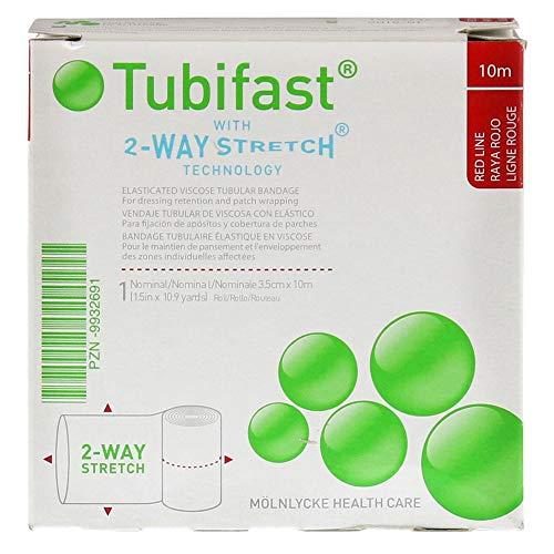 Tubifast 2434 Schlauchbinde, elastische Viskose, 10 m Rolle, kleine rote Linie, 3,5 cm