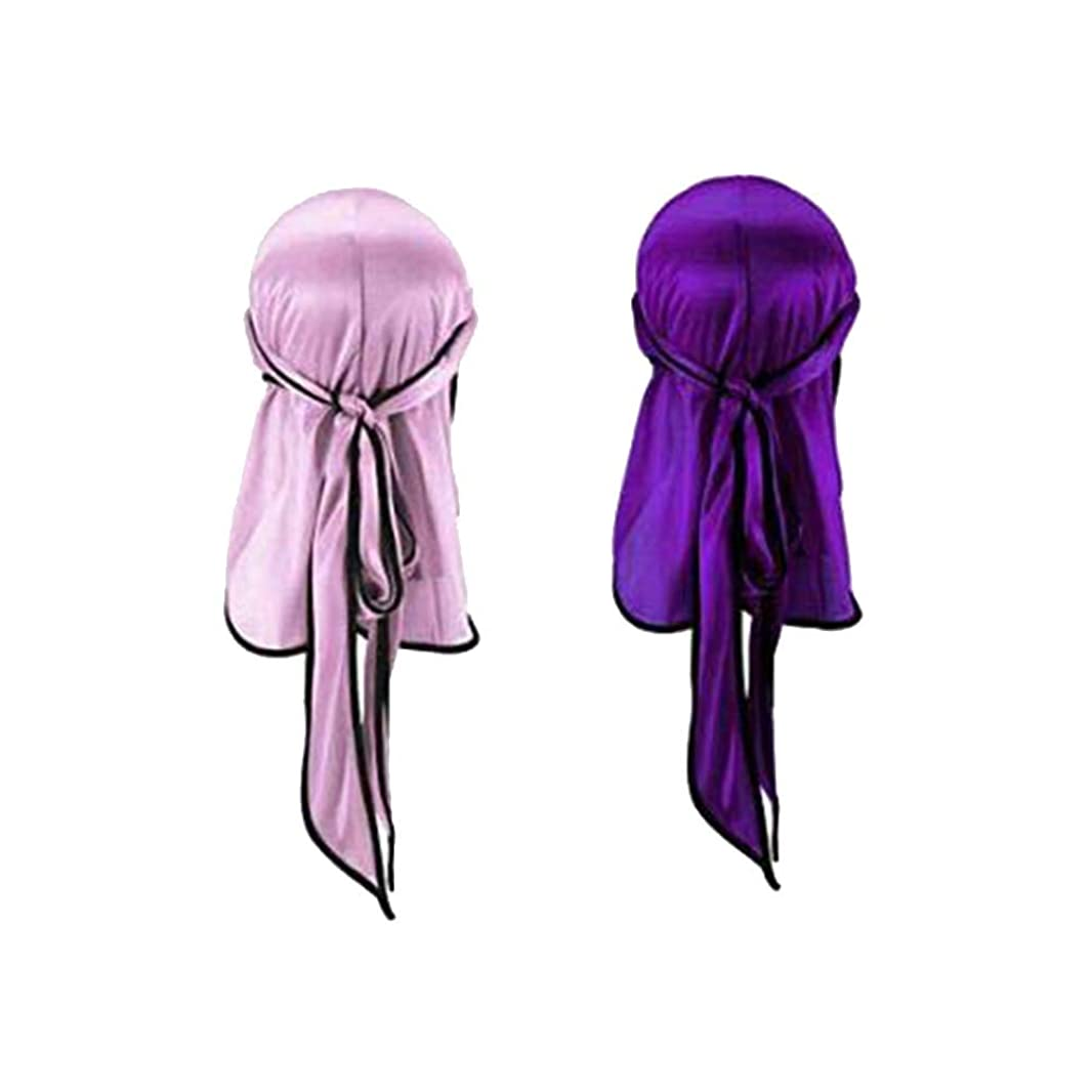 インレイキャスト宮殿Toyvian ナチュラルシルクスリープナイトキャップヘッドカバーボンネット用ヘア美容スカーフロングテール海賊帽子ヘッドドレス用屋外スポーツ2ピース