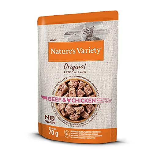 Nature's Variety Original No Grain - Paté para Gatos Adultos con Buey y Pollo - Caja 12 x 70 g