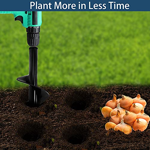 Auger Drill Bit for Planting 3x12in and 1.6x16.5in Powerful Drill Bit Plant Flower Bulb Auger Garden Spiral Hole Digger Rapid Planter Earth Post Umbrella Hole Digger for 3/8