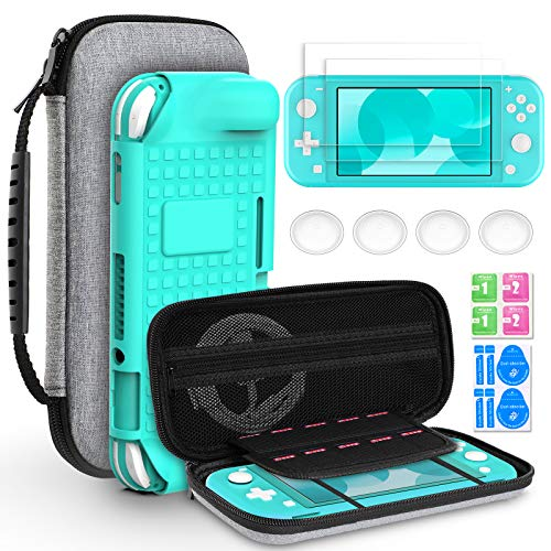 Hianjoo Tasche Kompatibel für Switch Lite, Travel Case Hartschale Hülle und Anderes Kompatibel für Switch Lite Zubehör, Aufbewahrungs Tasche/Grau Hülle/Schutzfolie/Griffe Kappen