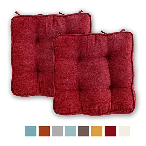 LXXTI Cojines para Sillas, Cómodos Cojines De Silla para Cojines De Silla para Muebles De Jardin, Terraza, Acolchado Grueso, 45X45cm, Set De 2,Rojo