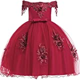 Cute Dresses for Girls 5-6 Knee Length Sleeveless Prom Dress Size 5 Bridesmaid Lace A-Line Summer Dress for Little Girls 5-9 Years Christmas Party Elegant Daddy Daughter Dance Dress (Red 130)