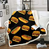 Hamburger Printed Fleece Blanket Fsat Food Theme Sherpa Throw Blanket for Sofa Couch Adult Cartoon Hot Dog Fuzzy Blanket Delicious Food Pattern Warm Plush Blanket Room Decor Throw 50'x60'