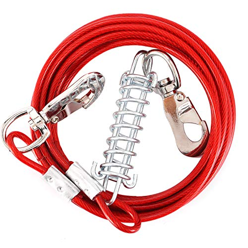 Snagle Paw Dog 40ft Red Tie Out Runner for Yard, Large Dogs Heavy Duty Dog Aerial Run Cable Up to 125lbs, with Durable Spring and Metal Swivel Hooks for Outdoor, Yard or Camping