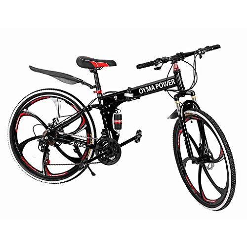 【3-9 DAYS DELIVERY】26 inch Folding Outroad Mountain Bike 21 Speed Non-Slip Full Suspension MTB Road Bicycle Double Disc Brake High Carbon Steel Sports Wheels for Adults Teens Men Women (red &black)