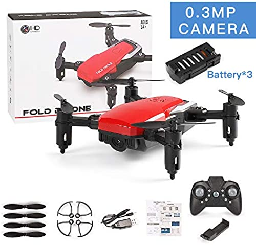 Faltbare Drohne mit Kamera, WiFi FPV Quadcopter mit 480P Weißwinkel-HD-Kamera Live-Video Mobile APP-Steuerung RC-Hubschrauber für Kids-Altitude Hold, One Key Start, 3  Batterie (nicht enthalten),rot