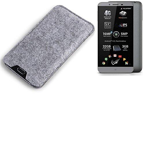 K-S-Trade® Filz Schutz Hülle Für Allview V2 Viper S Schutzhülle Filztasche Filz Tasche Case Sleeve Handyhülle Filzhülle Grau